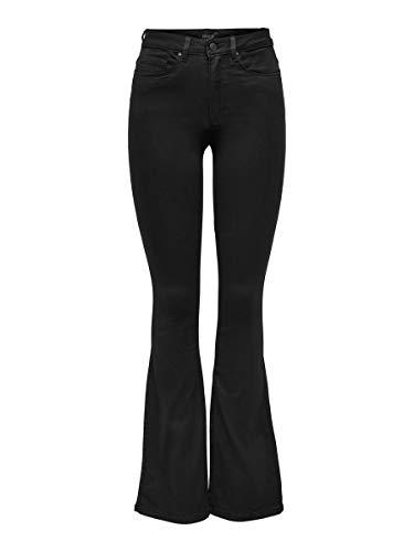 Damen Schlaghose Flared Jeans Schwarz
